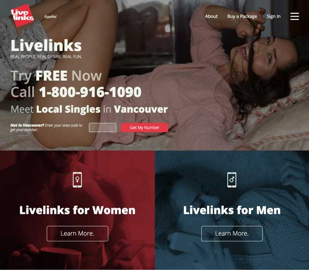 Livelinks Chatline Website